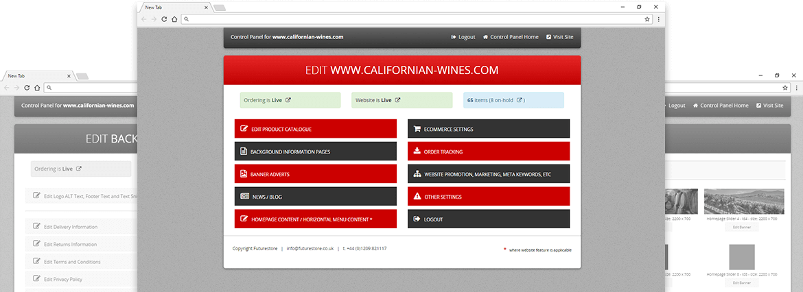 Try our Ecommerce Content Management System at www.californian-wines.com